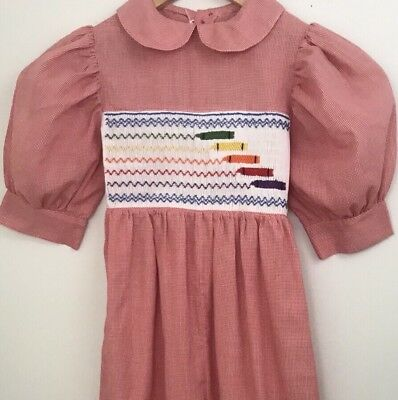Vintage Smocked Bubble Jumper Gingham Embroidered Crayons School Sz 6 - 7 ? HTF