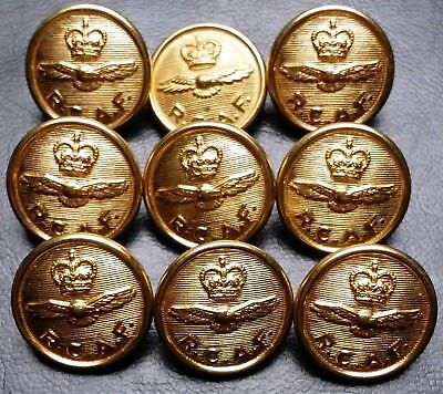Collection of 9 RCAF Buttons - Royal Canadian Air Force - Very Collectible