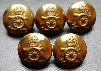 Collection of 5 Royal Canadian Artillery Military Buttons - Very Collectible