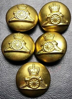Collection of 5 Royal Canadian Artillery Military Buttons - United Carr Canada