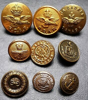 Collection of 9 Royal Military Buttons - Canada & Britain Air Force, AirCadets