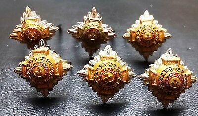 Collection of 6 Royal Officer's Badges - Tria Juncta In Uno - Very Collectible