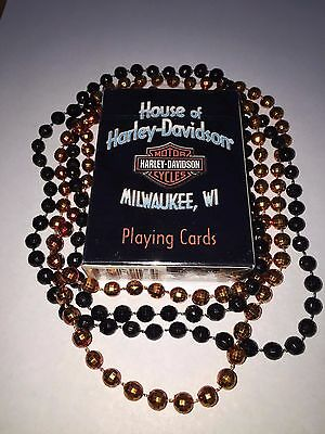 New Set Of Harley Davidson Milwaukee Playing Cards and Orange & Black Beads