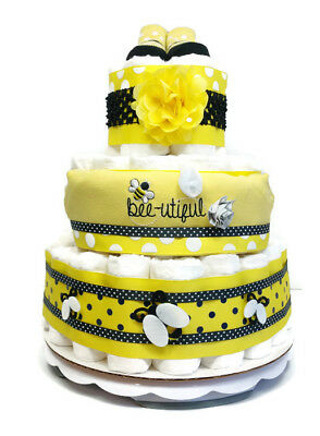 Bumble Bee Baby Girl Diaper Cake Shower Centerpiece