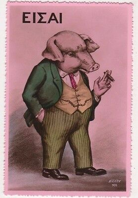 Anthropomorphic Pig as Businessman / Banker Greece Political RP Postcard B728