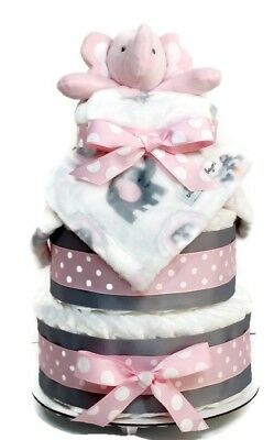 Pink Elephant Diaper Cake with Blanket - Baby Girl Diaper Cake for Baby Shower