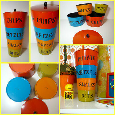 VTG 1970s MID Century Modern Lacquer Plastic Snack Stack Canisters Nesting Bowls