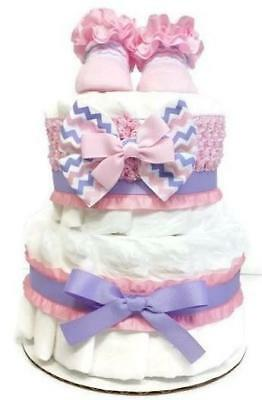 2 Tier Baby Girl Diaper Cake Centerpiece - Pink & Lavender Chevron with Ruffles