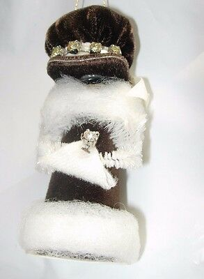 Christmas Tree Ornament Decoration Victorian Lady Woman Caroler Handmade Brown