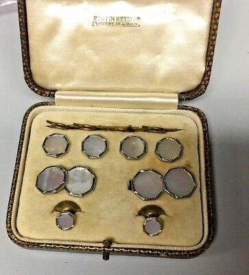 Antique Boxed Mens Dress Stud Button Cufflinks Set Austin Reed Mother Of Pearl 52 00 Picclick Uk