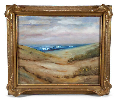 Vintage California Coastal Landscape Seascape Oil Painting By Angel Espoy Listed