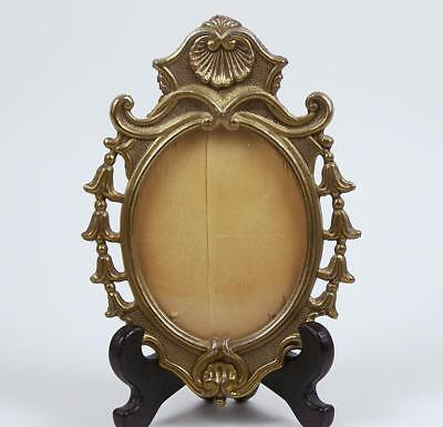 Antique Miniature Portrait Frame Brass Bellflowers and Shell w/ Glass Oval Shape