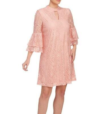 BEIGE ECI® M Blush Lace Mock Neck Bell Sleeve Shift Dress NWT $118