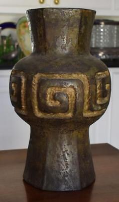 Antique Chinese Han Dynasty Large Bronze Vase With Greek Key Like Design