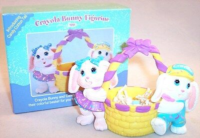 Hallmark Crayola Bunnies with Eggs in Basket Figurine with Box, Easter 1991
