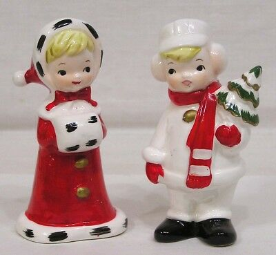 Vintage Christmas Pair Figurines Girl w Muff Boy w Tree Top Line Imports 1960s
