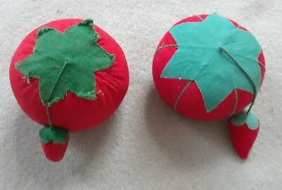 2 Vintage red tomato Pincushions with strawberry emeries Sewing Collectible