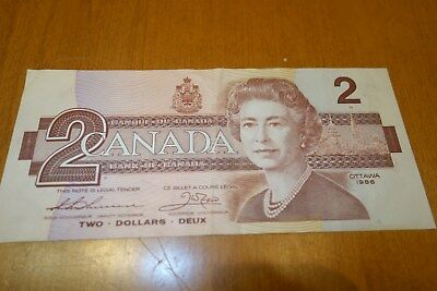 1986 CANADA $2 DOLLAR BILL Bank Note Queen Elizabeth II LAST SERIE Two Toonie AU