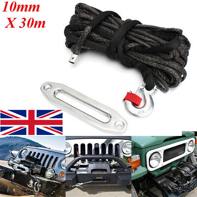 100ft 10mm Synthetic 20000lb Winch Rope & Hawse Fairlead & G70 Snap Recovery 4x4