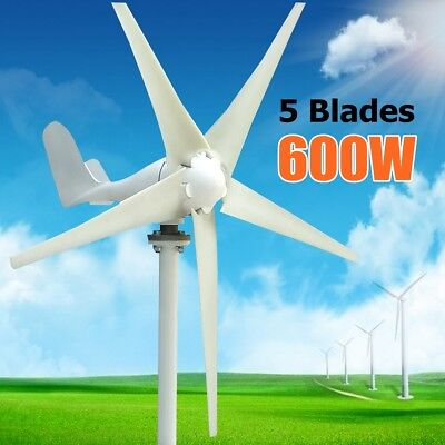 Max 600W 5 Blades Horizontal Residential Wind Turbine Generator + Controller UK