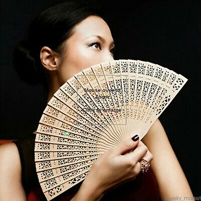 Chinese Bamboo Folding Hand Fan Wooden Wedding Party Flower Pattern Vintage Gift