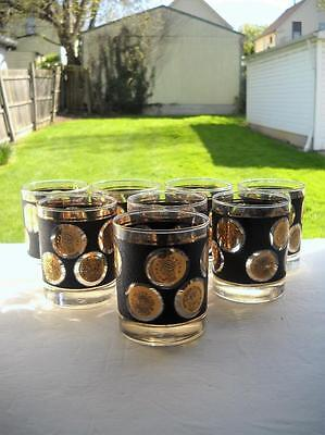 Set Of Eight Libbey On The Rocks Old Fashioned Gold Coins Glasses