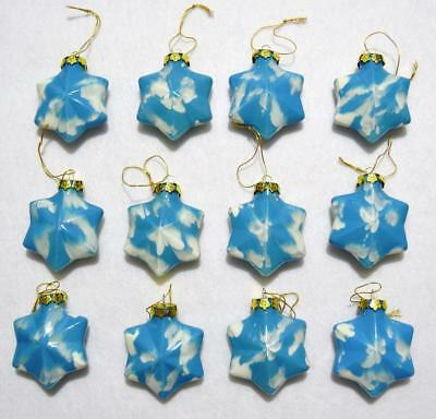 "Set/12 Inside Painted Blue & White Cloud 3"" Glass Star Christmas Ornaments"