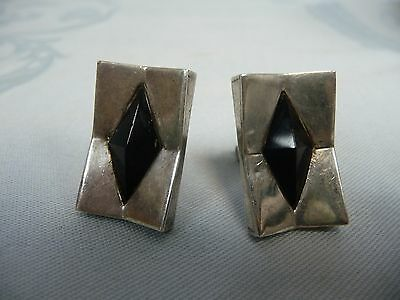 Pair Of Pre-Owned Mexican 970 Silver & Onyx Cufflinks - Designer