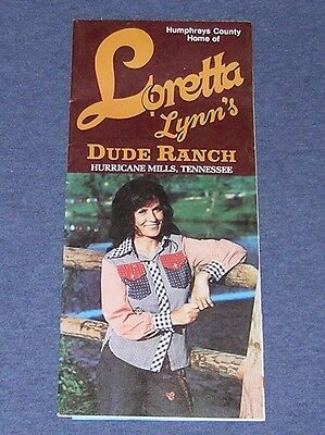VINTAGE 1970's ~ LORETTA LYNN DUDE RANCH ~ BROCHURE & MAP ~ TENNESSEE