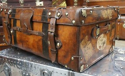Antique English Victorian Solid Leather Trunk Coffee Table
