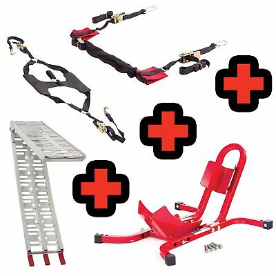 Warrior 17-21 Inch Bike Wheel Chock Combo / Tyre Down / Bar Strap / Loading Ramp