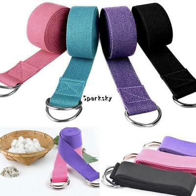 D-Ring Adjustable Cotton Yoga Stretch Strap Training Belt Leg Fitness LEBB
