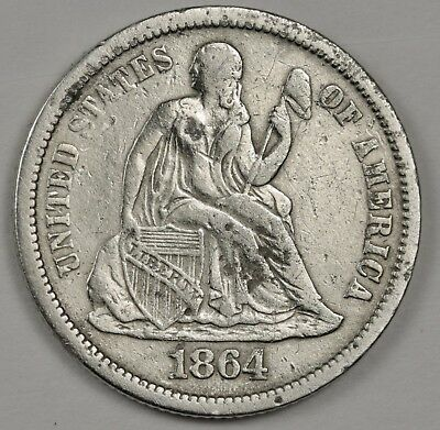 1864-s Seated Liberty Dime.  124220