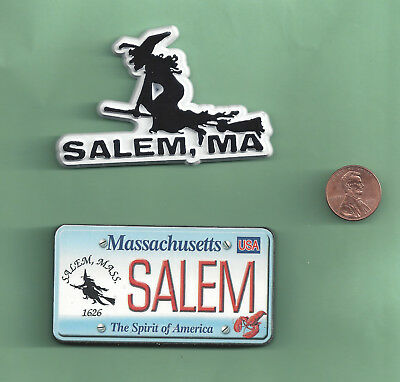 Two   Salem Massachusetts Witch Magnets. Flying Witch And License Plate Magnet