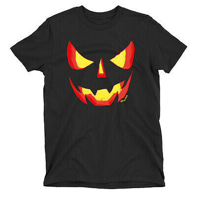 Evil PUMPKIN Face Mens HALLOWEEN Party T-Shirt Creepy Spooky Scary Costume Tee