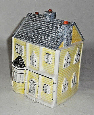 """Vintage 3 STORY YELLOW HOUSE 8 1/2"""" T House Cookie Jar"""