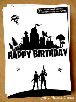 Funny Fortnite Birthday Card Son Dad Bro Xbox Gaming Game Achievement Unlocked