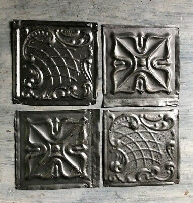 "Reclaimed 1890's Antique Tin Ceiling Tiles 4- 6"" x 6 Vintage Metal Silver 454-18"