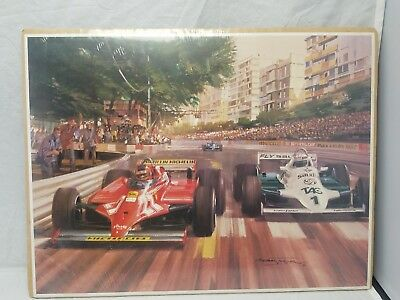 POSTER Ferrari F1 racing Gilles Villeneuve #27 & Alan Jones #1 Michael TURNER