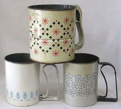 Vintage LOT of 3 Different Vintage Androck Flour Sifters Stylized Flowers Stars