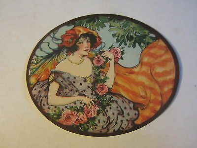 Original Old Vintage 1910's - HAT BOX LABEL - Lady in Purple Dress - ART NOUVEAU