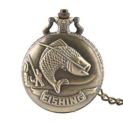 New Pocket Watch Chain Necklace Full Hunter Fishing Pendant Quartz Unisex Gift