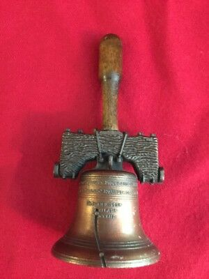 Vintage LIBERTY BELL Philadelphi Hand Or Desk Bell Wood Handle Bronze Finish