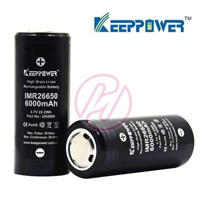 Keeppower IMR26650 UH2660 6000 mAh 30A Li-ion Rechargeable 3.7v Battery x2