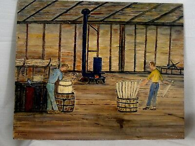 Occupational Folk Art Oil Painting Cooper Barrel Maker's Shop Men at Work Signed