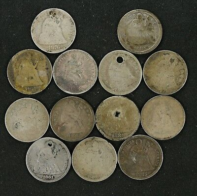 Seated Liberty Dimes 10C Cull 13 Coin Lot Holed Bent Damaged Circulated  (6061)