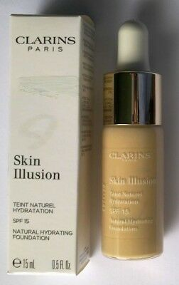 "Clarins Paris ""skin Illusion"" Base Maquillage Hydratante Spf15 Visage 15 Ml Neuf"