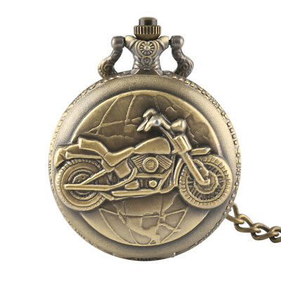 Steampunk Vintage Motorcycle Full Hunter Quartz Pocket Watches for Men Necklace