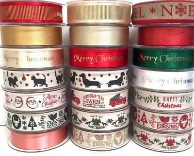 Berisfords 25mm Wide Christmas Ribbons Merry Christmas Ribbon Gift Wrapping