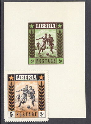 Liberia 1955, 5c football or soccer, ESSAY DIE PROOF green and brown, NH #348
